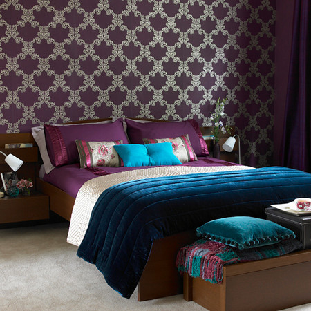 Aubergine (Purple) And Teal Bedroom Wallpaper